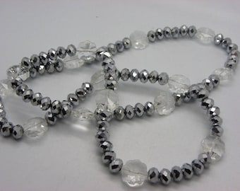 Necklace Crystal 8 mm glossy black silver with white flowers glass beads