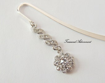 Bookmark, Rhinestone Bookmark, Rhinestone Flower Dangle Bookmark, Gift for Bookworm, Ramadan Eid gift, Quran, Bible, Thank you gift