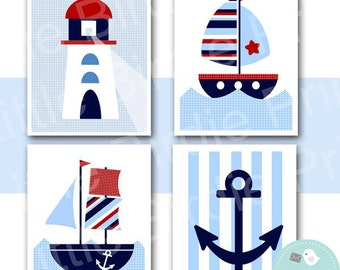 NAUTICAL Nursery WALL ART - Instant Download - Printable Boats, Lighthouse, Anchor for Nursery, Kids room or Baby room wall