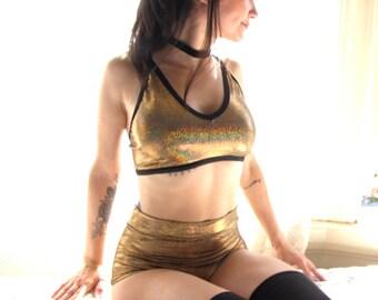 Gold Sparkle Bra - bralette - lingerie - underwear - lycra bikini top - swimsuit - sparkle - womens clothing- gold underwear swim suit top