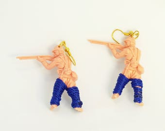 Pink and Blue Toy Soldiers Earrings