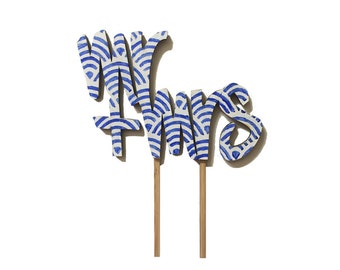 SPECIAL: Mr & Mrs in Blue Art Deco Shell (Eco Friendly, Ready to Go, Wedding Cake Topper)