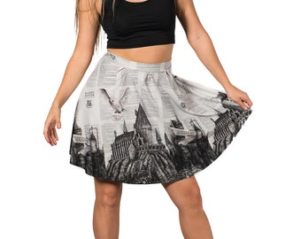 School of Witchcraft and Wizardry Flirt Skirt, Harry Potter Hedwig Owl Artwork Printed Flared Spandex Skirt
