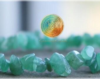 Green Aventurine Chip Bracelet, Genuine Green Aventurine, Natural Stone,Green Jewelry, Women's Bracelet, Gifts for Women, Reiki Infused,Luck