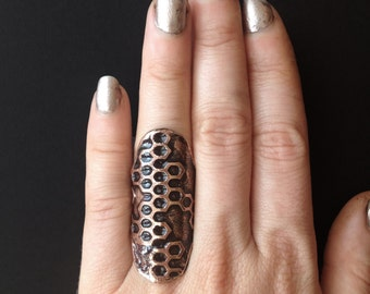 Shield Ring - Honeycomb  - handmade out of copper in my Austin Tx Studio - by Jamie Spinello