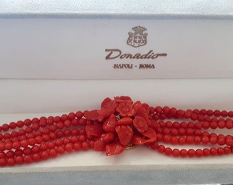 Red coral bracelet floral bouquet italian coral jewelry donadio bracelets corail rouge サンゴブレスレット красный коралловый браслет coral pin gift