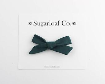 Schoolgirl Bow | Spruce | Hand Tied Bow on a Stretchy Nylon Headband or Alligator Clip