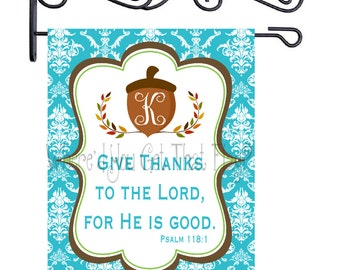 Custom Personalized Garden Sign Acorn Give Thanks