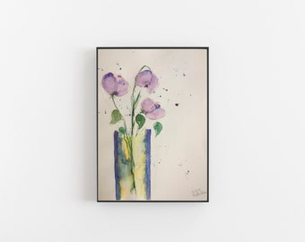 Original watercolor 11.8 x 15.7 inches (30 x 40 cm) watercolor painting wall art flowers in the vase flower painting