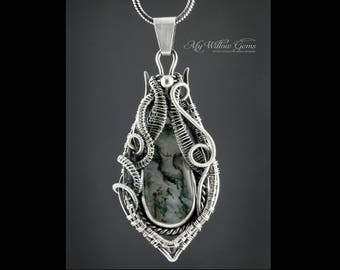 Elven inspired Antiqued Sterling Silver Moss Agate Necklace - pendant, jewelry, silversmith, wire wrapped, wire, elven, rustic