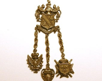 Vintage CORO Brooch Royal Coat of Arms Royal Crown Pendant, Designer Signed Coro Pin Circa 1950s