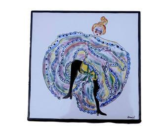 French Vintage Hand Painted Wall Tile - French Cancan Dancer - Parisian Moulin Rouge Cabaret Decor - Signed Daniel Artist - Paris Style
