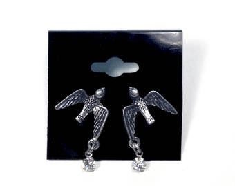 Antique Silver Swallow Stud Earrings