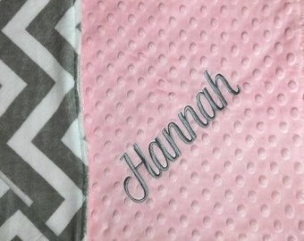 Pink Grey Chevron Pink Nursery Gray Chevron Nursery Pink Gray Baby Blanket Pink Gray Toddler Blanket Pink Gray Adult Minky Blanket
