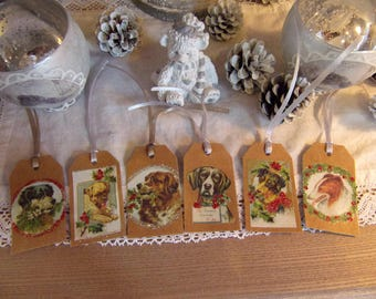 style 6 dogs tags scrapbooking bookmarks decoration Christmas gift tags retro vintage 4 x 7 cm made hand