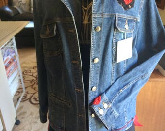 Denim Jacket Red Embellishments Large