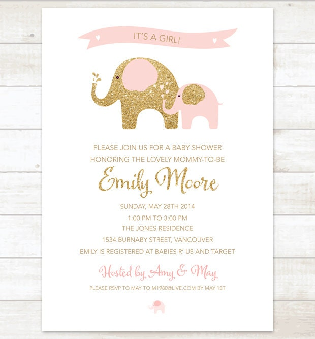 Pink gold elephant baby girl shower invitation pink gold zoom filmwisefo