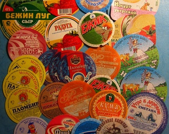 Set 27 Assorted Russian ice cream, cheese, yogurt Labels - Altered Art - Assemblage - Scrapbooking - Smash Book – Collage