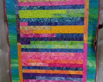 Lap Quilt, Batiks, Jelly Roll Race, Quilt Throw, Tropical Colors, Blue, Pink, Green, Orange, Handmade, FREE SHIPPING