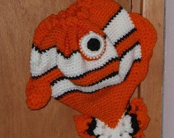 Drawstring Fish Purse - Fish Drawstring Purse - Orange Fish Purse - Clownfish Purse - Orange Clownfish Purse - Orange Clownfish Purse