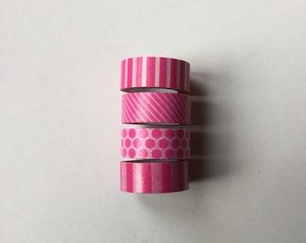 Scrapbooking 4 masking tape Washi tape pink fushia color stripe, polka dots 5 m