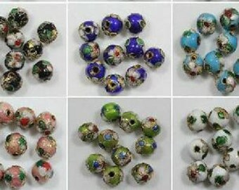 Vintage Handpainted Cliosonne 8mm Beads. Choose color and amount !