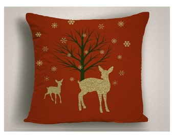 Gold and Red Glitter Mother Deer and Baby Christmas Throw Pillow, Holiday Decorations with Reindeer and Snow, Christmas Throw Pillow Covers