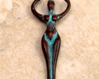 Goddess Pendant, Green Patina, Greek Casting, 50x20 MM, M177