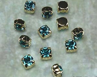 BLUE ZIRCON: Swarovski SS29 6.5mm 17704 Xilion Gold Plated Two Hole Sew-On Slider Bead Component (12)