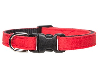 """Cat Collar - """"The Luxe"""" - Red Ultrasuede"""