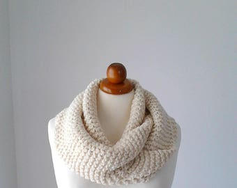 Women scarf knit scarf chunky scarf crochet scarf infinity scarf cowl scarf knit infinity scarf gift for her natural scarf wool scarf