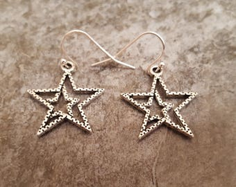 Silver Star Earrings, Star Jewelry, Twinkle Twinkle Little Star, Starry Night, Antique Silver Earrings, Lightweight, Everyday, Gift for her