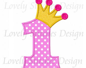 Crown Number 1 Applique Machine Embroidery Design NO:0608