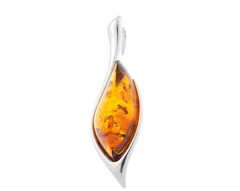 100% Natural Handmade Baltic Amber Pendant finished in Hypoallergenic Silver .925