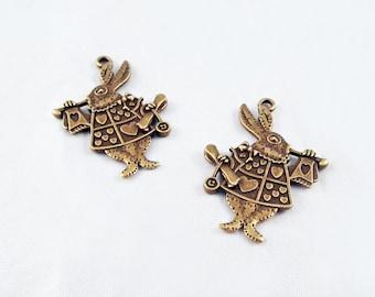 BP10 - 2 models charms clock rabbit Alice in Wonderland Bronze / 2 Styles Bronze Wonderland Rabbit Clock Pendant