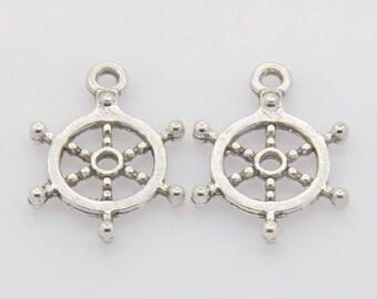 10 charms bar wheel silver 20 mm x 17.5 mm