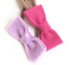 Felt MaiMai baby bow on nylon headband | choose your color | Felt baby bow | Baby headband