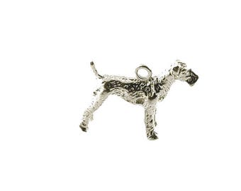 Sterling Silver Airedale Terrier Dog Charm For Bracelets