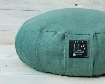 linen ZAFU cushion RUSTIC, eco BUCKWHEAT hulls fill, meditation cushion,Yoga pillow,sitting floor Pouf,handle and zipper,wedding gift