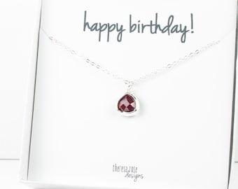 Tiny January Birthstone Silver Necklace, Garnet Necklace, Silver Necklace, January Birthday Gift, Bridesmaid Jewelry, Gifts Under 20