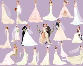 Instant Download Digital Bride Groom Clip Art Wedding ClipArt Digital Bride Clipart Wedding Invitation Bridal Shower Scrapbook Wedding 0254