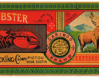 Original vintage Tin Can label c1890 Fresh Lobster Cariboo Pictou Nova Scotia Canada