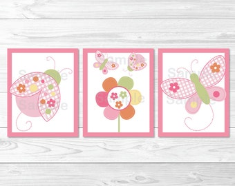 Pink Ladybug Butterfly Nursery Wall Art / Ladybug Nursery Wall Art / Butterfly Nursery Wall Art / PRINTABLE Instant Download