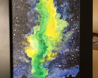 Abstract green, yellow and blue/black space galaxy water color painting