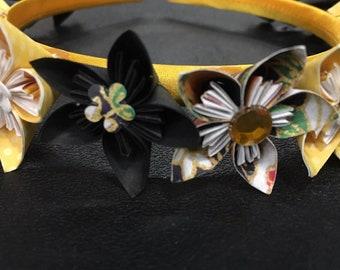Yellow & Black Flower Headband