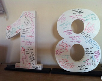 Signature Wooden Letters & Numbers - Party Guest Book - Price for 2 numbers, ie 18, 21, 30, 40, 50, 60, 70, 80, 90