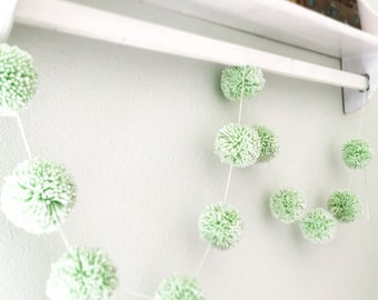 Mint Green Pom Yarn Garland - Farmhouse Style- Menthe Pom Pom Garland - Baby Bridal Shower Garland - Birthday - Wedding - Home Decoration