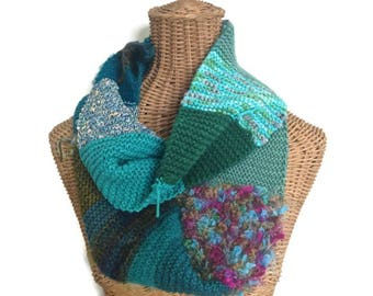 Boho Style Scarf Hand Knit Scarf Infinity Scarf Teal Wool Scarf Woman's Cowl Blended Yarns Multicolor Scarf Long Scarf Knitted Cowl