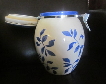 BLUE LEAF Biscuit/Cookie CANISTER Jar Container