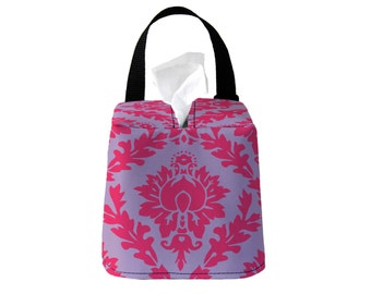 Auto Sneeze Box - Damask - Hot Pink Pale Lavender - or PICK YOUR COLOR - Car Accessory Automobile Caddy Tissue Case Floral Flower Purple